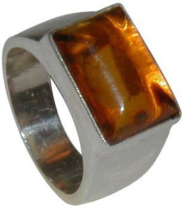 REAL AMBER STERLING SILVER RING-700913